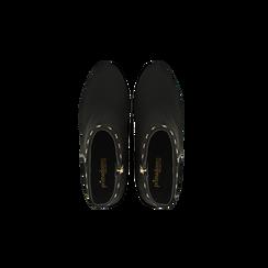 Tronchetti neri con profili decorati, tacco 7,5 cm, Scarpe, 122181619MFNERO, 004 preview