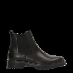 Chelsea Boots neri in vera pelle, tacco basso, 127708181VINERO038, 001a