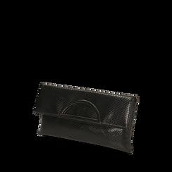 Pochette estensibile nera stampa vipera , GIFT IDEAS, 165108717EVNEROUNI, 002a