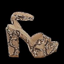 Sandalias en eco-piel con estampado de serpiente y plataforma color beige, tacón 12 cm , SABOT DE TACÓN ALTO, 152133001PTBEIG035, 001a