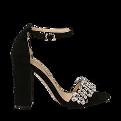 Sandali nero in microfibra con gemme sulla tomaia, tacco 10,5 cm, Scarpe, 132133794MFNERO035, 001a