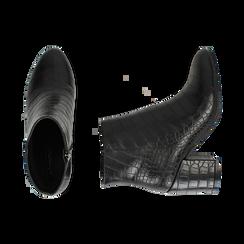 Ankle boots neri stampa cocco, tacco 7,5 cm , Stivaletti, 142762715CCNERO036, 003 preview