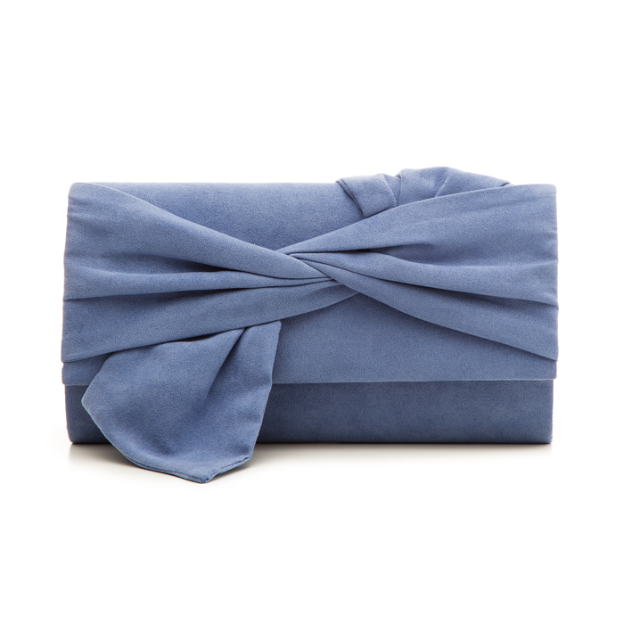 Pochette azzurra in microfibra con fiocco, Borse, 132300508MFAZZUUNI