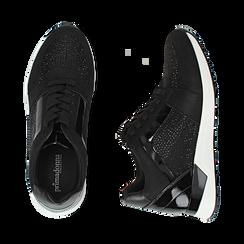 Sneakers nere in tessuto tecnico, zeppa 4 cm , Primadonna, 162826824TSNERO036, 003 preview