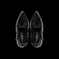 Décolleté nere in vera pelle con cinturini, tacco quadrato 10 cm, Scarpe, 12D614411VINERO, 004 preview
