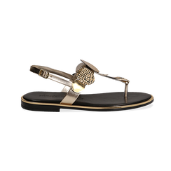Sandali flat oro in laminato con dettagli snake skin, Primadonna, 136102170LMOROG036, 001 preview