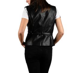 Gilet biker noir en simili-cuir, 156591041EPNERO3XL, 002a