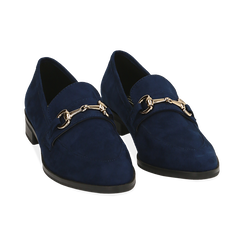 Mocassini blu in microfibra, Scarpe, 164964141MFBLUE035, 002 preview