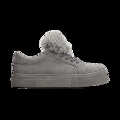 Sneakers grigie con pon pon in eco-fur, Scarpe, 121081755MFGRIG, 001 preview