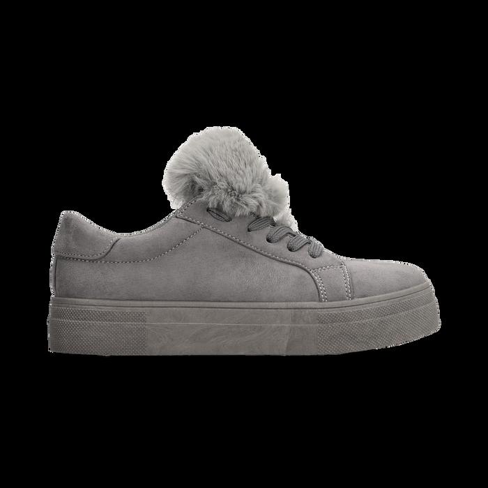 Sneakers grigie con pon pon in eco-fur, Scarpe, 121081755MFGRIG