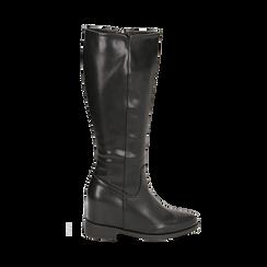 Stivali neri in eco-pelle con zeppa interna, tacco 3 cm , Scarpe, 149721229EPNERO035, 001 preview