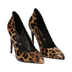 Décolleté leopard in vernice, tacco stiletto 10,50 cm ,