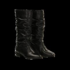 Stivali Neri in vera pelle con gambale morbido, tacco 2,5 cm, 128900900VINERO035, 002
