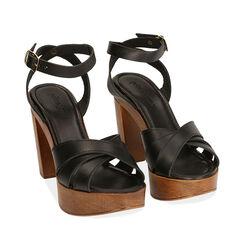 Sandali neri in pelle, tacco 11,5 cm , 174304931PENERO036, 002a