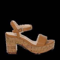 Sandali cuoio in eco-pelle, tacco in sughero 9 cm, Saldi Estivi, 138402256EPCUOI035, 001a
