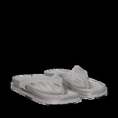 Zeppe infradito argento in pvc con strass, Primadonna, 135810176PVARGE035, 002a