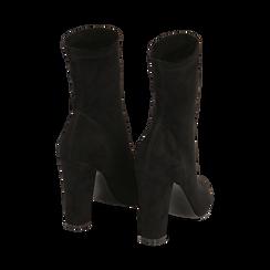 Ankle boots a punta neri in microfibra, tacco 10 cm , Stivaletti, 142172633MFNERO035, 003 preview