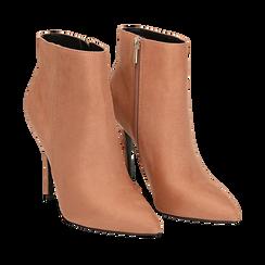 Ankle boots nude in microfibra, tacco 10,5 cm , Scarpe, 142168616MFNUDE035, 002a