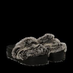 Ciabatte grigie in eco-fur con catenelle, Primadonna, 112061302FUGRIG035, 002a
