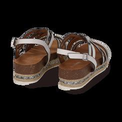 Sandali platform bianchi in eco-pelle, zeppa 4,50 cm , Primadonna, 111718503EPBIAN, 004 preview