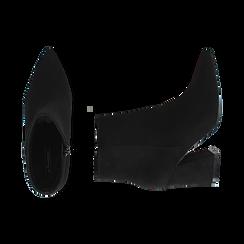 Ankle boots neri, tacco trapezio 8,5 cm , Stivaletti, 144961020MFNERO035, 003 preview