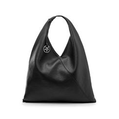 Hobo bag nera in eco-pelle, Borse, 141918028EPNEROUNI, 001 preview