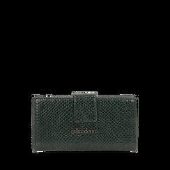 Portafogli verde stampa vipera , IDEE REGALO, 165122158EVVERDUNI, 001a