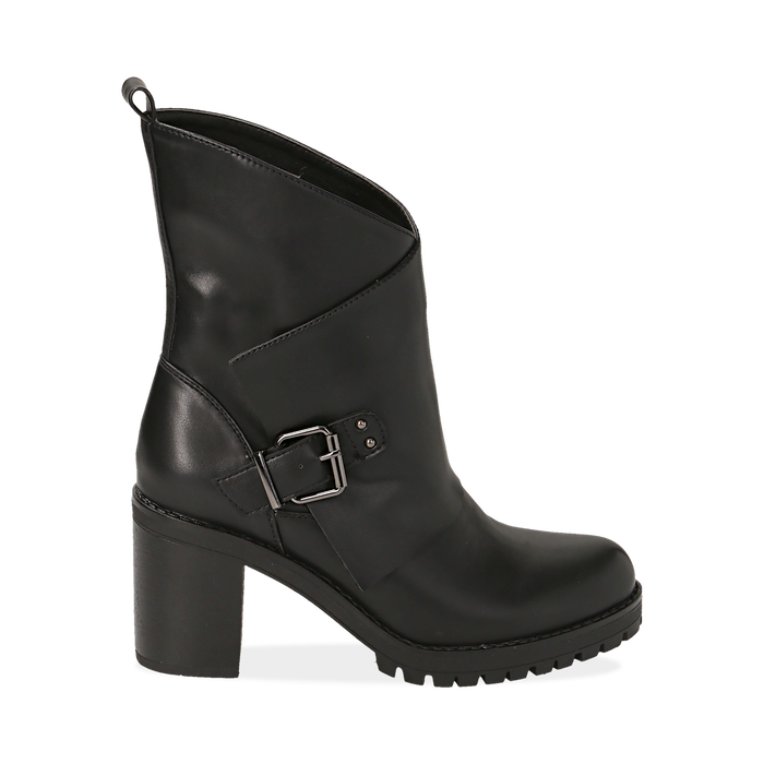 best sneakers 4e02c 2775a Biker boots neri in eco-pelle, tacco 8 cm