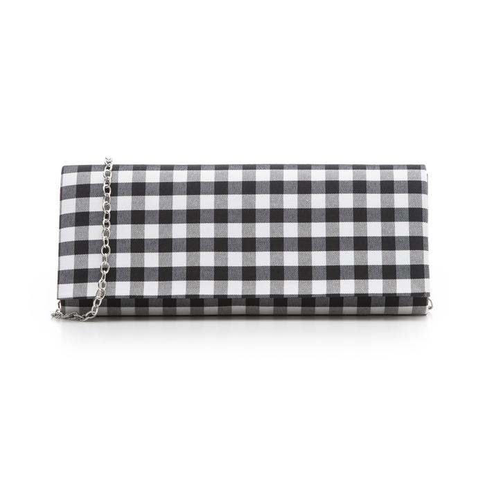Clutch bianco/nera in tessuto stampa Vichy, Borse, 133308825TSNEBIUNI