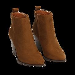 Ankle boots cuoio in microfibra, tacco 8,50 cm, Primadonna, 160585965MFCUOI040, 002a