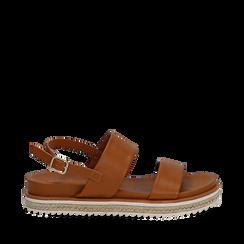 Sandali platform cuoio in eco-pelle, zeppa 4 cm, Saldi Estivi, 132172081EPCUOI035, 001a