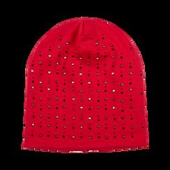 Berretto invernale rosso in tessuto con strass, Saldi Abbigliamento, 12B490741TSROSSXXL, 001 preview