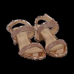Sandalias efecto espejo color dorado/rosa, tacón 4 cm, OPORTUNIDADES, 154942401SPRAOR036, 002 preview