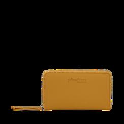 Portafoglio giallo in eco-pelle a tre scomparti, Borse, 133723501EPGIALUNI, 001a