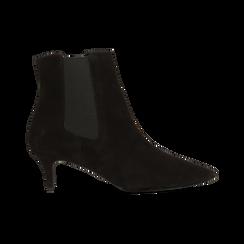 Stivaletti Chelsea neri in vero camoscio, tacco midi 6 cm, Primadonna, 12D618401CMNERO, 001 preview