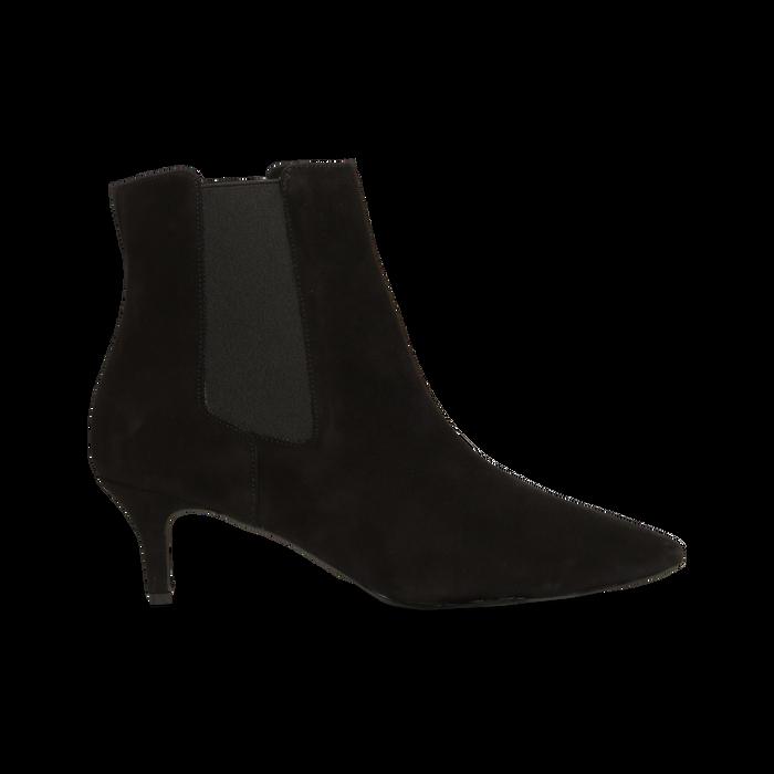 Stivaletti Chelsea neri in vero camoscio, tacco midi 6 cm, Primadonna, 12D618401CMNERO