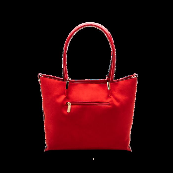 Maxi-bag a spalla rossa in microfibra scamosciata, Saldi, 125702033MFROSSUNI