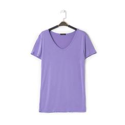 T-shirt con scollo a V lilla in tessuto, Saldi Estivi, 13F750713TSLILLM, 001 preview