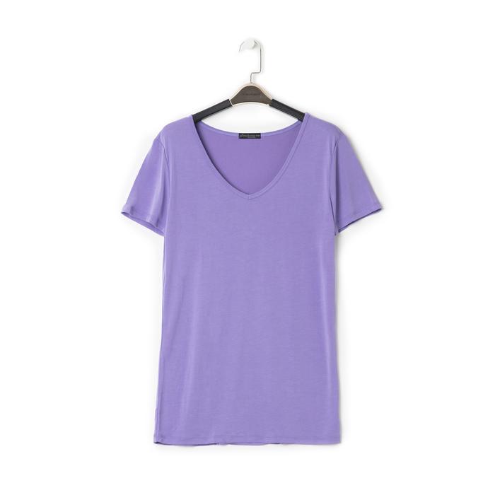 T-shirt con scollo a V lilla in tessuto, Saldi Estivi, 13F750713TSLILLM