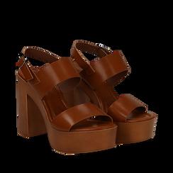 Sandali platform cuoio in eco-pelle con due fasce, tacco 12 cm , Primadonna, 132147761EPCUOI035, 002a