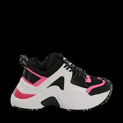 Dad shoes nero/fucsia in tessuto tecnico, zeppa 8 cm , Scarpe, 147580471TSNEFU035, 001a