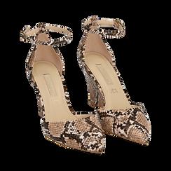 Escarpins en simili-cuir beige imprimé python, compensé 8,5 cm , Chaussures, 152151841PTBEIG036, 002 preview