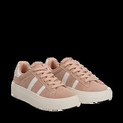 Sneakers rosa in microfibra stile vintage Seventies, Scarpe, 130101157MFROSA035, 002a