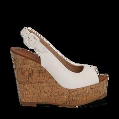 Sandali bianchi in eco-pelle, zeppa 12 cm , Scarpe, 154907982EPBIAN035, 001a