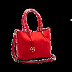 Maxi-bag a spalla rossa in microfibra scamosciata, Saldi, 125702033MFROSSUNI, 003 preview
