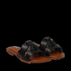 Mules nere in eco-pelle, Saldi Estivi, 133661443EPNERO035, 002a