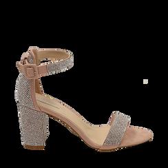 CALZATURA SANDALO MICROFIBRA PIETRE NUDE, Chaussures, 154913226MPNUDE035, 001a