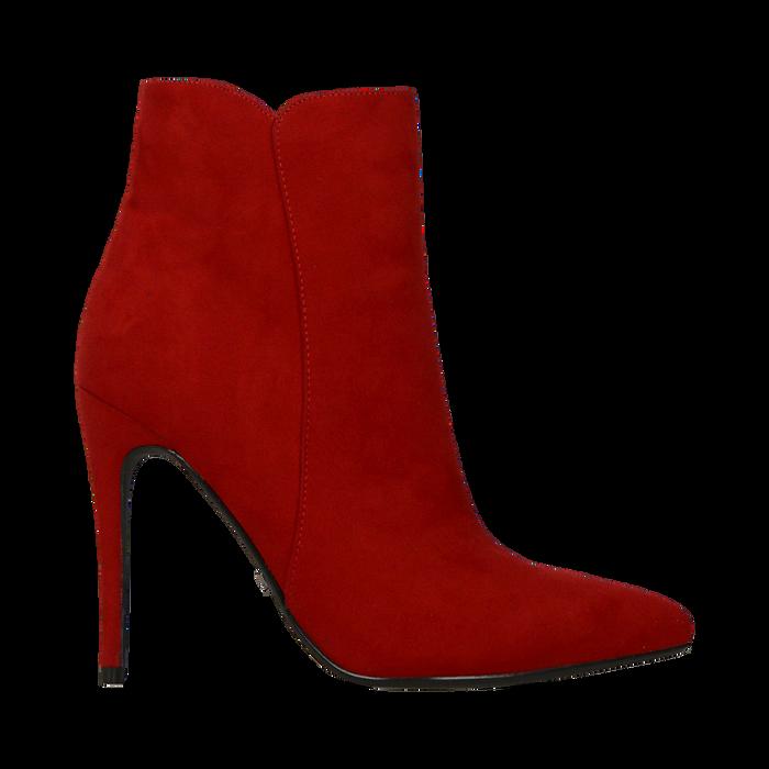 Tronchetti rossi scamosciati, tacco stiletto 10,5 cm, Scarpe, 124895652MFROSS