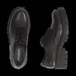 Stringate nere in eco-pelle con lacci in velluto, Scarpe, 140585669EPNERO036, 003 preview