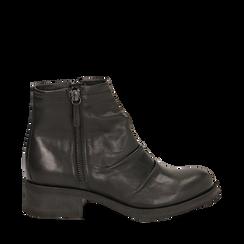 Biker boots neri in pelle, tacco 4 cm , Stivaletti, 147718220PENERO035, 001a